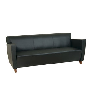 Black Leather Sofa with Cherry Finish