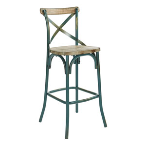 Somerset 30-Inch Bar Stool with Back in Antique Tourquoise