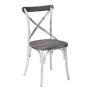Somerset X-Back Antique White Metal Chair with Hardwood Vintage Crazy Horse Seat Finish