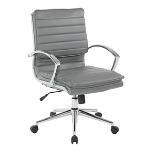 Mid Back Managers Faux Leather Chair in Charcoal with Chrome Base