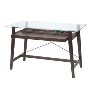 Tribeca Espresso Computer Desk with Glass Top