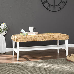 White and Natural Hyacinth Bench