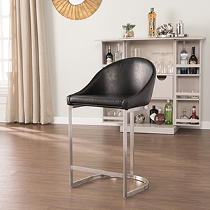 Borwick Black and Brushed Silver Counter Stool