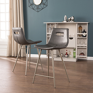Brunell Black and Brushed Silver Counter Stool, Set of 2