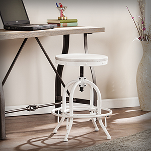 Distressed White with Whitewash Stain Stool