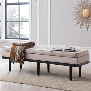 Rosalyn Warm Stone and Black Bench