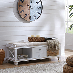 Wyndcliff White and Taupe Bench