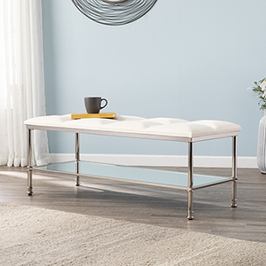 Paschall Silver with Ivory and Mirror Bench