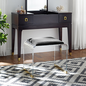 Magley Black Vanity with Champagne Stool