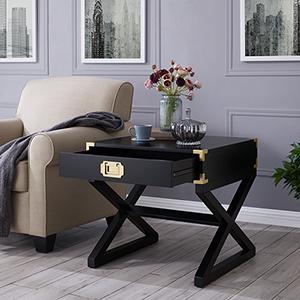 Campaign Black and Brass End Table