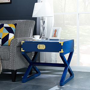 Campaign Navy with Brass End Table
