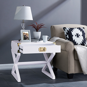 Campaign White with Brass End Table