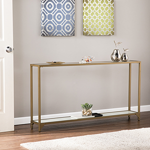 Bergen Gold with White Glass Console Table