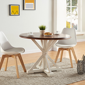 Barrisdale Antique White and Dark Tobacco Dining Table