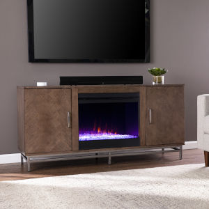 Dibbonly Brown and matte silver Color Changing Electric Fireplace with Media Storage