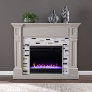 Birkover Gray Color Changing Electric Fireplace with Marble Surround