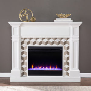 Darvingmore White Color Changing Fireplace with Marble Surround