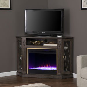 Austindale Light Brown Electric Color Changing Fireplace with Media Storage