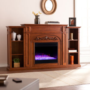 Chantilly Autumn oak Color Changing Electric Firplace with Bookcase