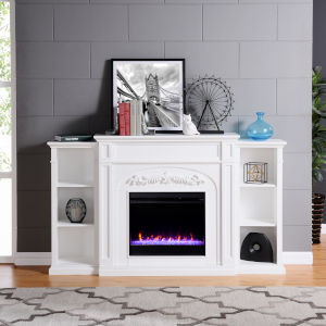Chantilly White Color Changing Electric Firplace with Bookcase