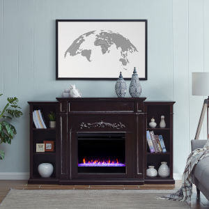 Chantilly Espresso Color Changing Electric Firplace with Bookcase