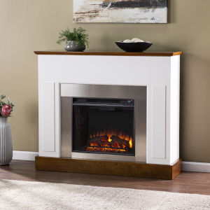 Eastrington White and Dark Tobacco Electric Fireplace
