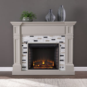 Birkover Gray Electric Fireplace with Marble Surround