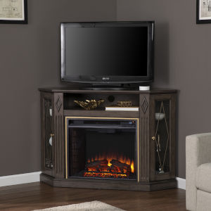 Austindale Light Brown Corner Electric Fireplace with Media Storage