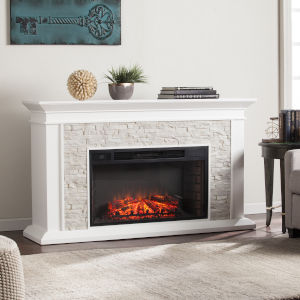 Canyon Fresh White Faux Stacked Stone Electric Fireplace