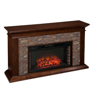 Canyon Whickey Maple Simulated Stone Electric Fireplace