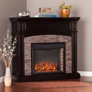 Grantham Ebony Faux Stone Corner Electric Media Fireplace