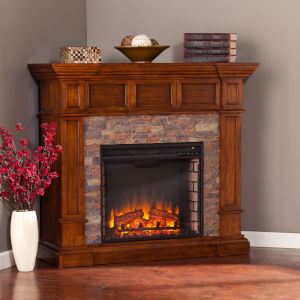 Merrimack Buckeye Oak Simulated Stone Convertible Electric Fireplace