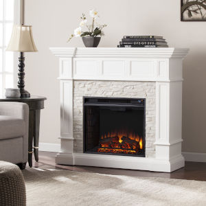 Merrimack Fresh White Corner Convertible Electric Fireplace