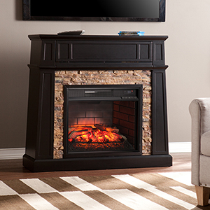 Crestwick Black with Mesa Verde Faux Stone Infrared Fireplace