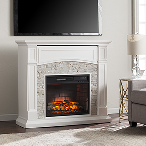 Seneca Crisp White with Rustic White Faux Stone Infrared Fireplace