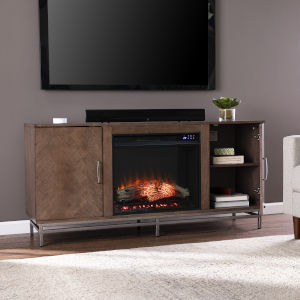 Dibbonly Brown and matte silver Electric Fireplace with Media Storage