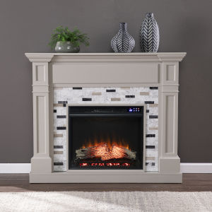 Birkover Multi-Color Electric Fireplace with Marble Surround