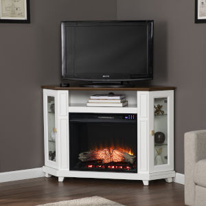 Dilvon White and brown Ecorner lectric Media Fireplace with Storage