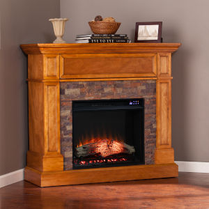 Rosedale Sienna Convertible Electric Fireplace with Faux Stone