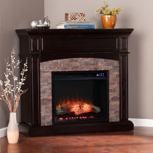 Grantham Ebony and Black Convertible Electric Fireplace