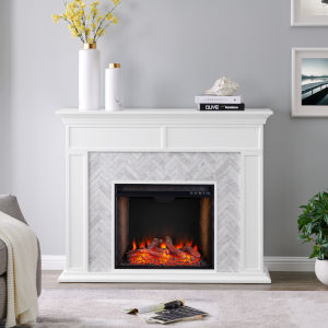 Torlington White Tiled Marble Electric Fireplace Mantel with Alexa Firebox