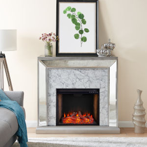 Trandling Antique Silver Mirrored Smart Electric Fireplace with Faux Stone
