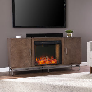 Dibbonly Brown and matte silver Alexa Smart Fireplace with Media Storage