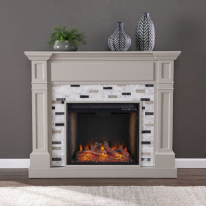 Birkover Multi-Color Alexa Smart Fireplace with Marble Surround
