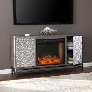Hollesborne Gray and gunmetal gray Alexa Smart Fireplace with Media Storage