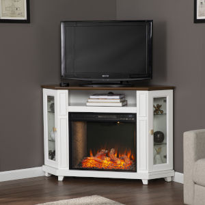 Dilvon White and brown Smart Fireplace with Media Storage