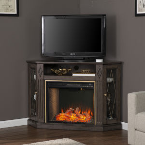 Austindale Light Brown Smart Corner Fireplace with Media Storage