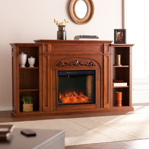 Chantilly Autumn oak Electric Fireplace with Alexa-Enabled Smart and Bookcase