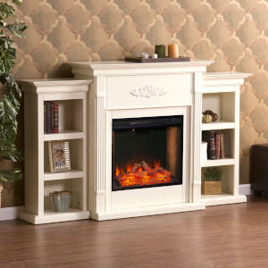 Tennyson Ivory Electric Fireplace with Alexa-Enabled Smart and Bookcase