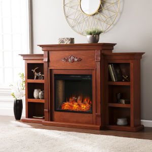 Tennyson Mahogany Electric Fireplace with Alexa-Enabled Smart and Bookcase